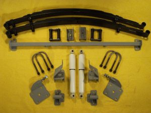 AS-1015CGY Complete Leaf Spring Rear End Mounting Kit for 1954-1955 (1st Series) Chevy and GMC Pickup Truck (Gas Shocks)